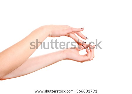 Care for the women's hands. - stock photo