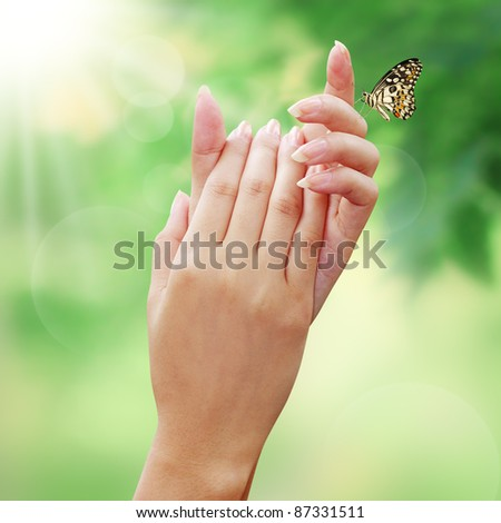 Care nature with your beautiful hands in the world - stock photo