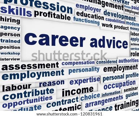 Career advice employment poster design. Recruitment help message background - stock photo