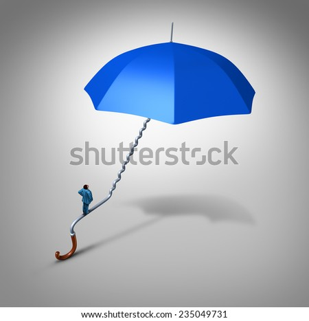 Career and job security path protection as an employee climbing a blue umbrella handle  shaped as a stairway path as a business metaphor and financial symbol for job safeguard or coverage support. - stock photo