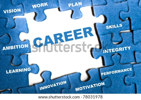 Career blue puzzle pieces assembled - stock photo