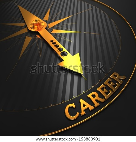 """Career. Business Background. Golden Compass Needle on a Black Field Pointing to the Word """"Career"""". 3D Render. - stock photo"""