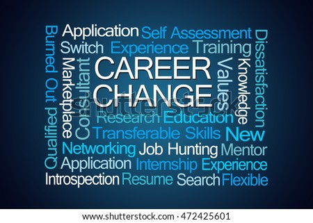 Career Change Word Cloud on Blue Background