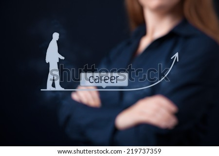 Career concept - woman human resources officer (HR, personnel) supervise employees career growth
