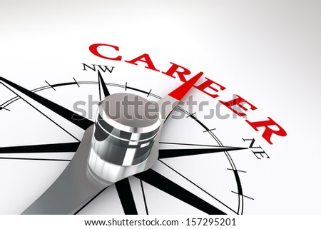 career conceptual compass rose on white background - stock photo