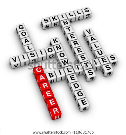 career crossword puzzle - stock photo