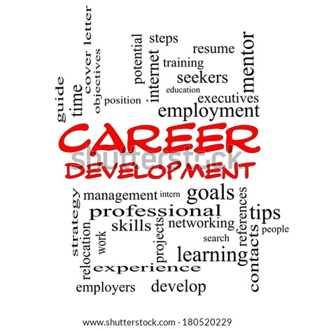 Career Development Word Cloud Concept in red caps with great terms such as goals, resume, mentor and more. - stock photo