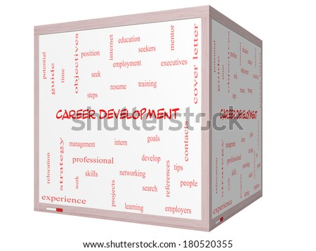 Career Development Word Cloud Concept on a 3D cube Whiteboard with great terms such as goals, resume, mentor and more. - stock photo