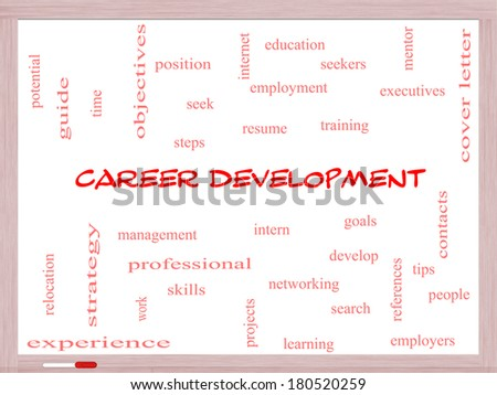 Career Development Word Cloud Concept on a Whiteboard with great terms such as goals, resume, mentor and more. - stock photo