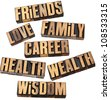 career, family, wealth, love, friends, health, wisdom  - list of popular life values  - a collage of isolated words in vintage letterpress wood type - stock photo
