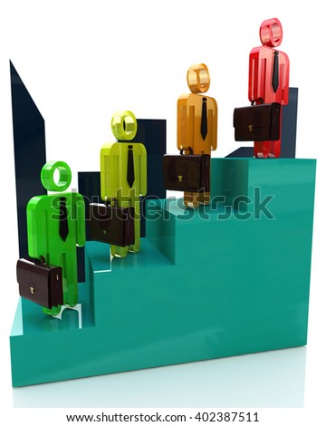 Career growth, Career development, Career advancement, Business staircase.3D Illustration - stock photo