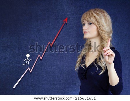 Career growth, step by step concept. Young Businesswoman looking at ladder, gesturing at tenting with finger, isolated on blue background. Corporate, life, academic success, goal - stock photo