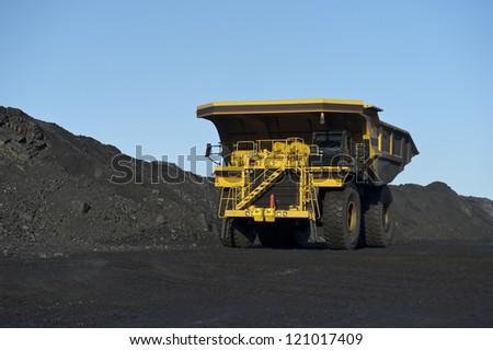 Career heavy-load car, dump truck - stock photo