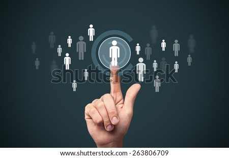 Career. Human resources officer choose employee standing out of the crowd. Select team leader concept. Male hand click on man icon. Negative space in left side, blue background. - stock photo