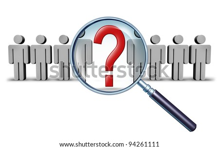 Career job search and business career choice employment concept with human businessman icons and a red question mark in a magnifying glass as a symbol of recruitment and occupation discovery. - stock photo