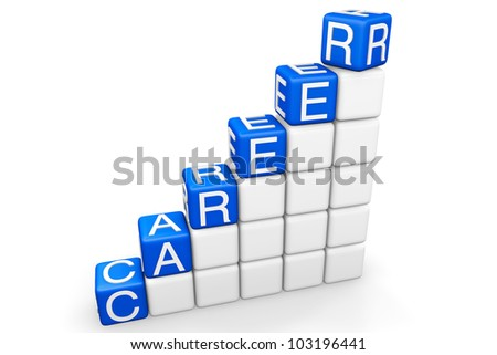 Career Ladder. Steps to career as blocks on a white background - stock photo