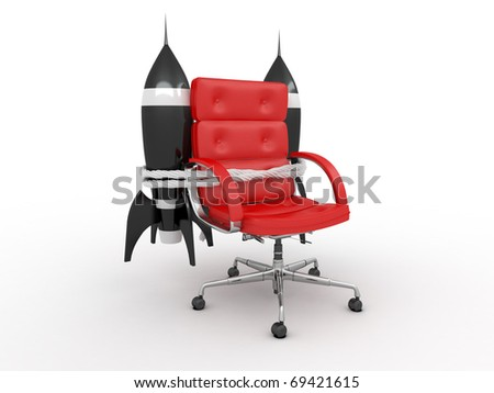 Career opportunities. Office armchair with rockets.3d - stock photo