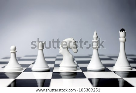 Career Opportunities presented in chess pieces on board. - stock photo