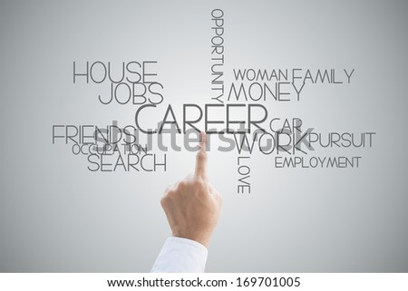 Career opportunity hand press concept on grey background