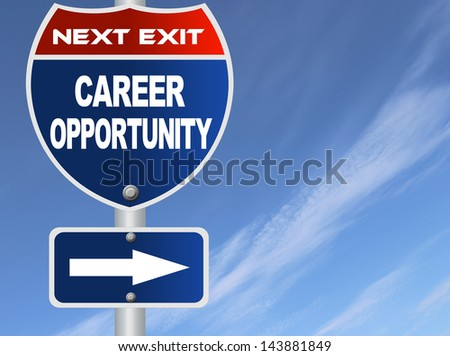 Career opportunity road sign - stock photo
