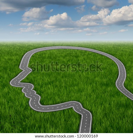 Career path and business planning decisions through education and searching for financial opportunities direction as a road or highway in the shape of a human head on a summer background. - stock photo