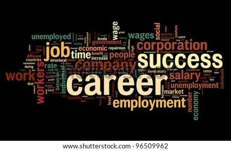 Career related words concept in word tag cloud on black - stock photo