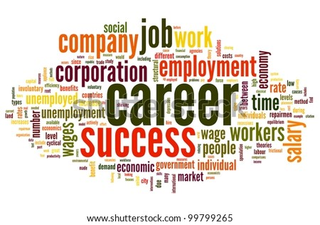 Career related words concept in word tag cloud on white - stock photo