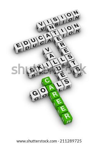 career settings (green-white crossword series) - stock photo