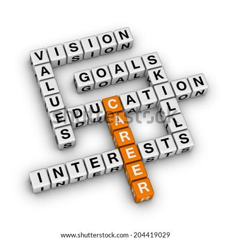 career settings (orange-white crossword puzzles series) - stock photo
