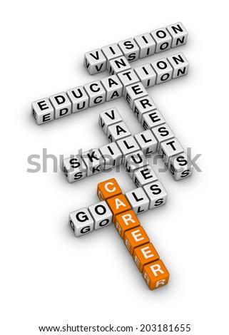 career settings (orange-white crossword series) - stock photo