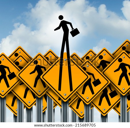 Career success and climb to the top concept as a group of worker crossing traffic signs with one businessman breaking out of the pack as a symbol of leadership and out of the box innovation thinking. - stock photo