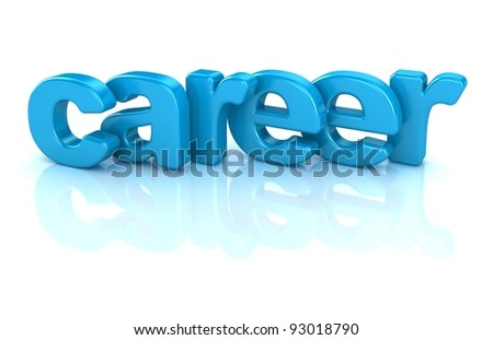 career text 3d isolated over white background