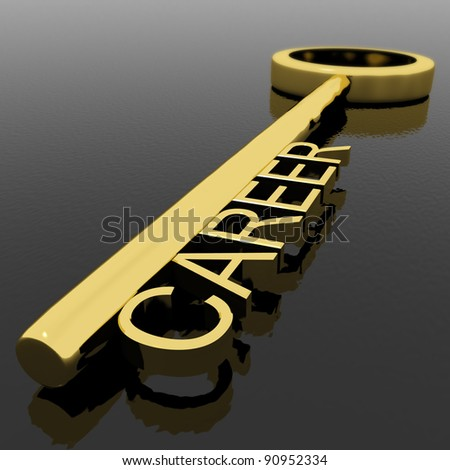 Career Text On A Gold Key With Black Background As Symbol Of New Job Or Occupation - stock photo