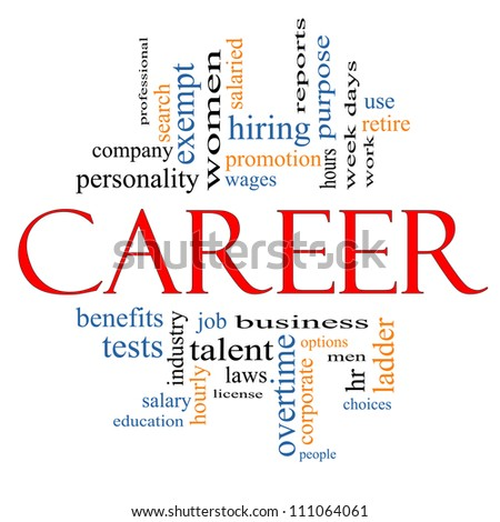 Career Word Cloud Concept with great terms such as wages, promotion, work, retire, salaried, hr, ladder, corporate and more. - stock photo