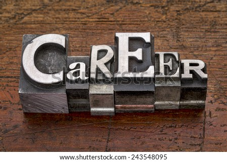 career word in mixed vintage metal type printing blocks over grunge wood - stock photo