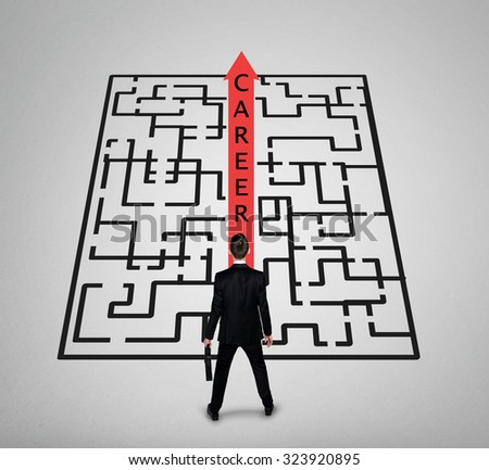 Career word maze and business man thinking solution - stock photo