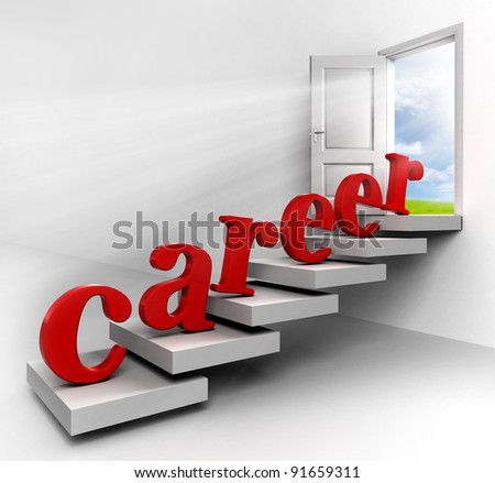career word on stair to conceptual door with view to sky in white room metaphor for success - stock photo