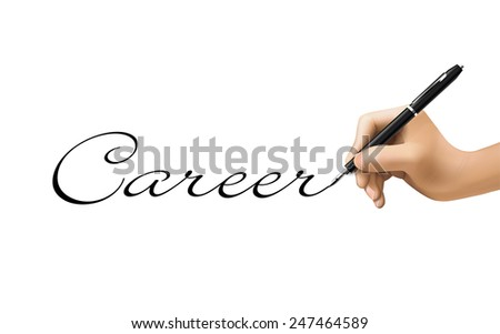 career word written by 3d hand over white  - stock photo