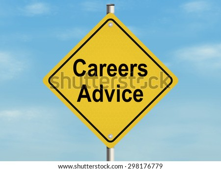 Careers advice. Road sign on the sky background. Raster illustration. - stock photo