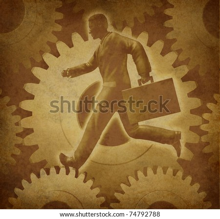 Careers and advancement symbol representing the business concept of employment on an old grunge parchment paper texture. - stock photo