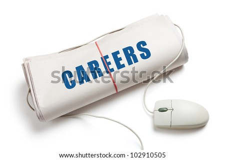 Careers, Computer mouse and Newspaper Roll with white background