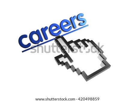 careers. 3d rendered inscription. Link and finger, pointer. Isolated on white - stock photo