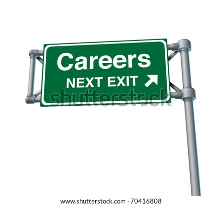 Careers Freeway Exit Sign highway street symbol green signage road symbol isolated - stock photo
