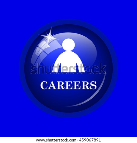 Careers icon. Internet button on blue background.  - stock photo