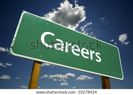 Careers Road Sign with dramatic blue sky and clouds. - stock photo