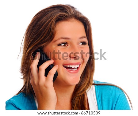 Carefree cell phone teenager isolated on white - stock photo
