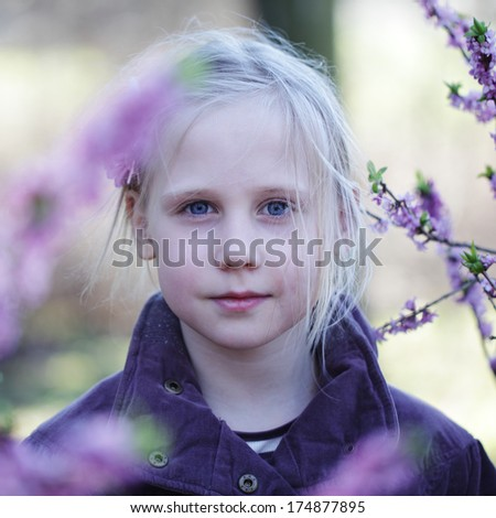 Carefree girl outdoors, spring portrait