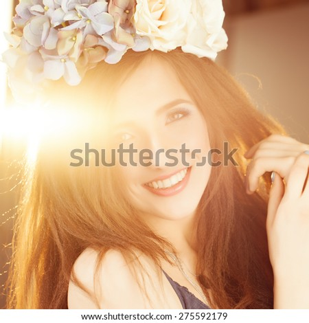 Carefree Happy Woman in Summer Sunlight - stock photo
