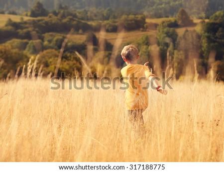 Carefree little boy run across high golden grass - stock photo