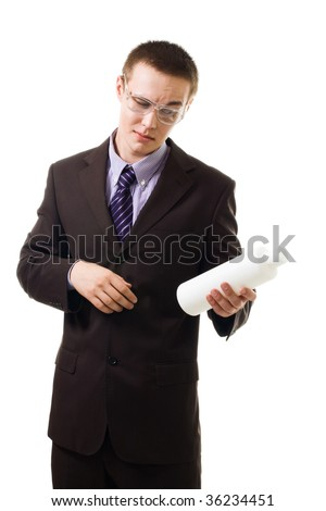 Careful men - customer checking ingredient in product, wearing formal clothes isolated on white - stock photo
